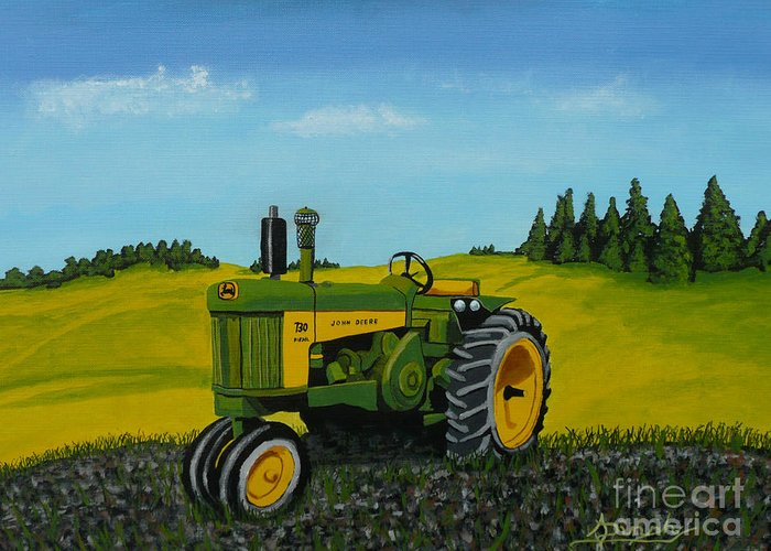 John Deere Greeting Card featuring the painting Dear John by Anthony Dunphy