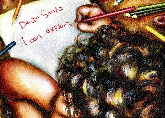 Child Greeting Card featuring the painting Dear Santa by Hiroko Sakai