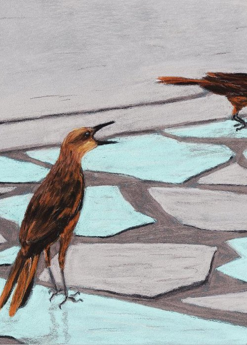 Death Valley Greeting Card featuring the painting Death Valley Birds by Anastasiya Malakhova