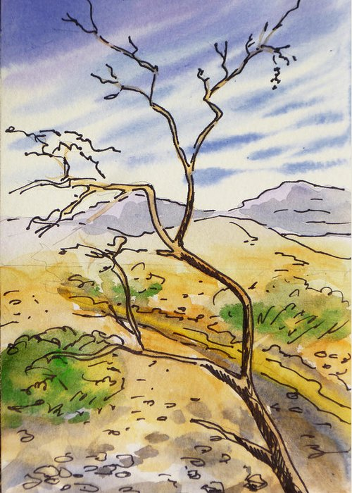 Sketchbook Greeting Card featuring the painting Death Valley- California Sketchbook Project by Irina Sztukowski