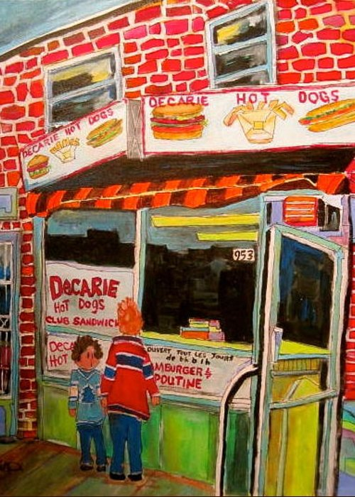 Decarie Hot Dogs Greeting Card featuring the painting Decarie Hot Dogs Montreal by Michael Litvack