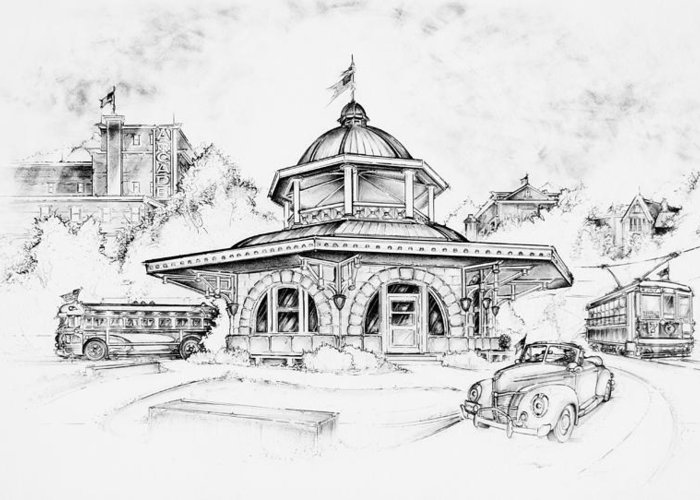 Decatur Transfer House Greeting Card featuring the drawing Decatur Transfer House by Scott and Dixie Wiley