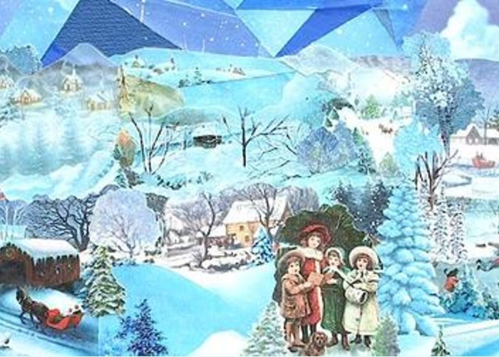 Blue Tinted Landscape; Snow; Village Greeting Card featuring the mixed media December Evening Landscape - Sold by Judith Espinoza
