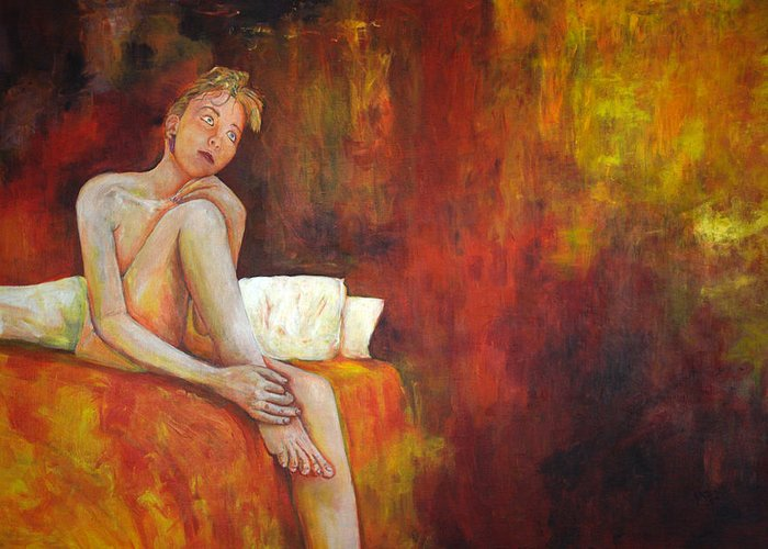 Light; Martyn Robinson; Modern; Painting; Figure; Portrait; Acrylic; Mood; Red; Deceptive Light Greeting Card featuring the drawing Deceptive Light by Martyn Robinson