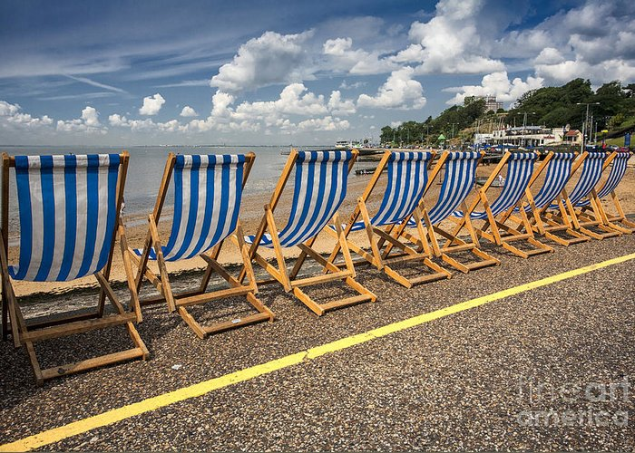 Empty Deckchairs Greeting Card featuring the photograph Deckchairs at Southend by Sheila Smart Fine Art Photography