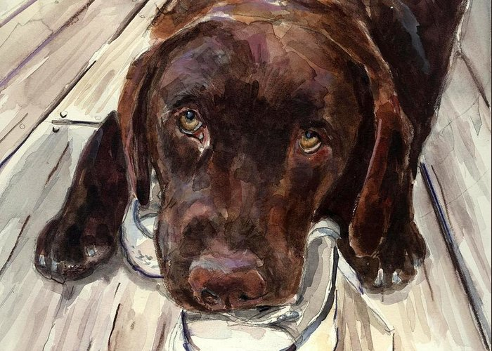 Chocolate Labrador Greeting Card featuring the painting Deckhand by Molly Poole