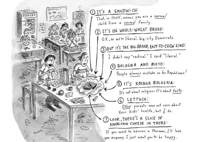 Sandwiches Greeting Card featuring the drawing Deconstructing Lunch by Roz Chast