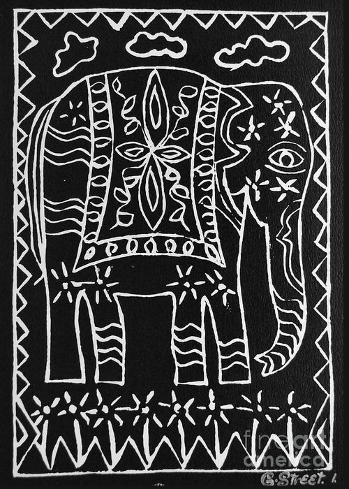 Lino Cut Greeting Card featuring the relief Decorated Elephant by Caroline Street