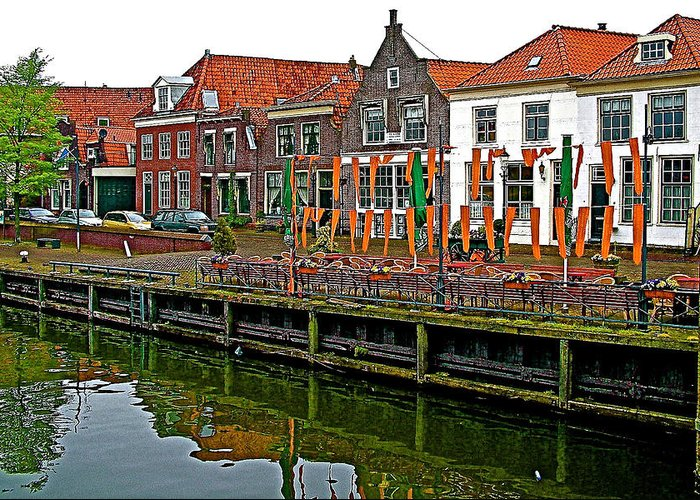 Decorations For Orange Day To Celebrate The Queen's Birthday In Enkhuizen Greeting Card featuring the photograph Decorations For Orange Day To Celebrate The Queen's Birthday In Enkhuizen-netherlands by Ruth Hager