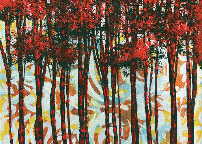 Contemporary Greeting Card featuring the painting Decorative Abstract Floral Bird Landscape Painting Forest Of Dreams II By Megan Duncanson by Megan Duncanson