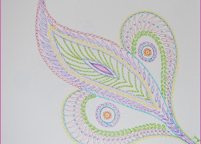 Decorative Leaf Greeting Card featuring the drawing Decorative Leaf by Sonali Gangane