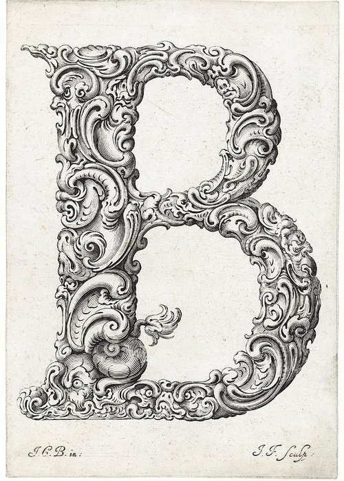 B Greeting Card featuring the photograph Decorative Letter Type B 1650 by Georgia Fowler