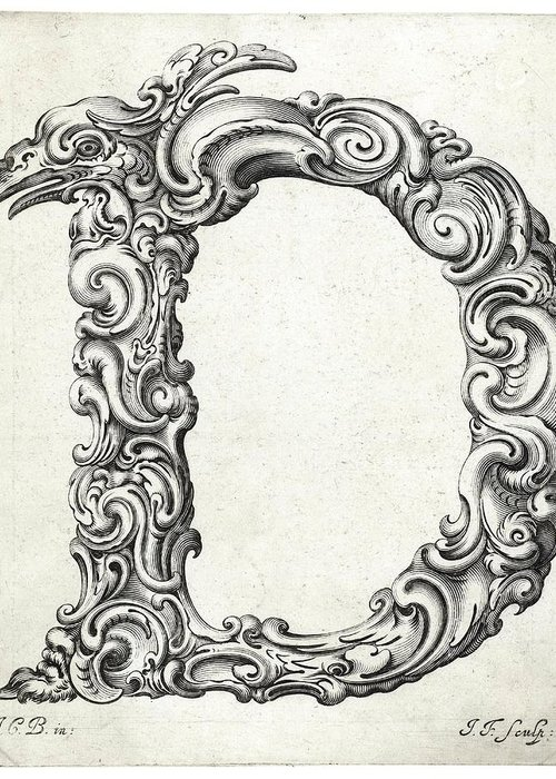 D Greeting Card featuring the photograph Decorative Letter Type D 1650 by Georgia Fowler