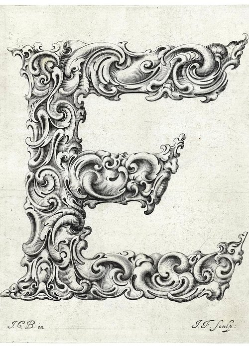 E Greeting Card featuring the photograph Decorative Letter Type E 1650 by Georgia Fowler