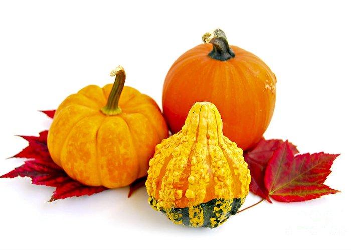 Pumpkin Greeting Card featuring the photograph Decorative Pumpkins by Elena Elisseeva