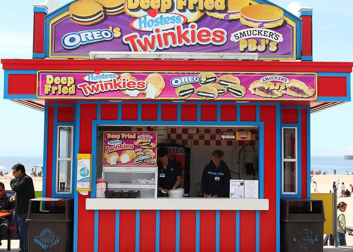 California Greeting Card featuring the photograph Deep Fried Hostess Twinkies At The Santa Cruz Beach Boardwalk California 5d23689 by Wingsdomain Art and Photography