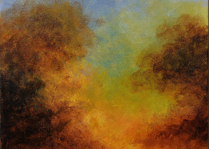 Hudson River School Greeting Card featuring the painting Deep In The Hedgerow by Kim Sobat