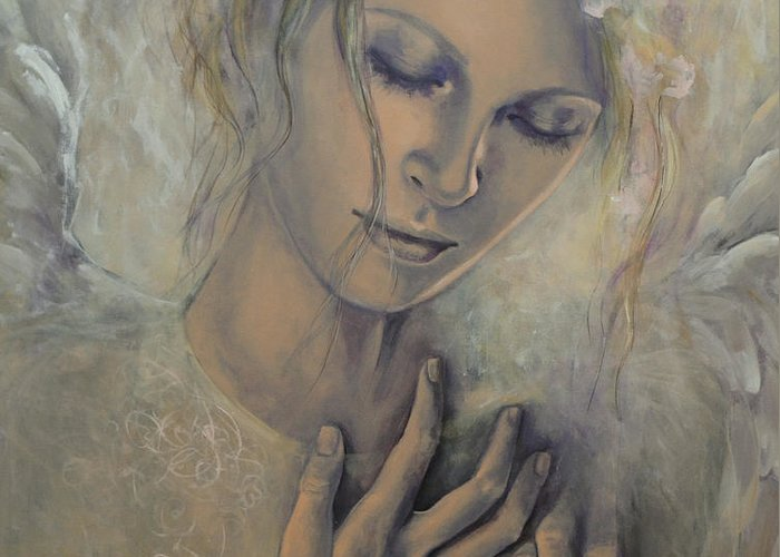 Art Greeting Card featuring the painting Deep Inside by Dorina Costras
