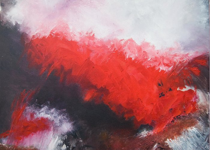 Red Greeting Card featuring the painting Deep Red 3 by Jos Van de Venne