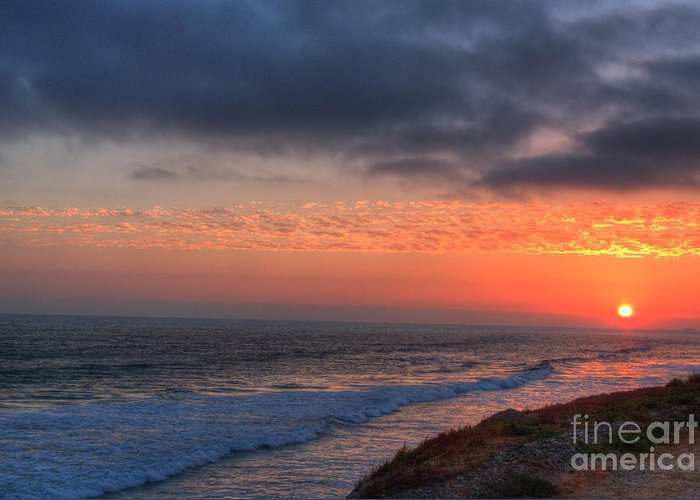 Dog Greeting Card featuring the photograph Deep Red Sunset by Deborah Smolinske