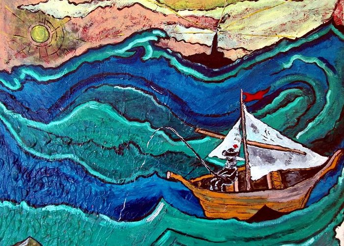 Boat Greeting Card featuring the painting Deep Thought by Matthew James
