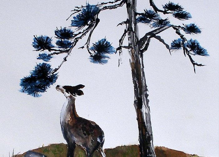 Blue Sky Greeting Card featuring the painting Deer And Pine by Sibby S