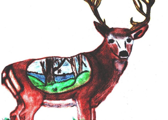 Deer Greeting Card featuring the drawing Deer World by Shaunna Juuti