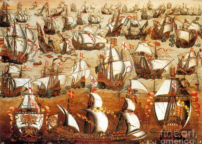 History Greeting Card featuring the photograph Defeat Of The Spanish Armada 1588 by Photo Researchers