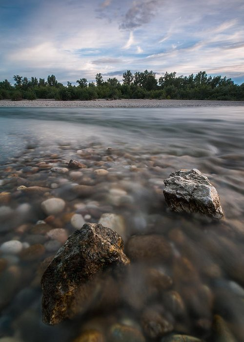 Landscapes Greeting Card featuring the photograph Defying The Flow by Davorin Mance