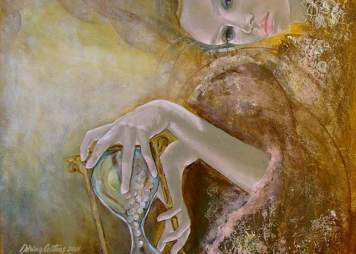 Art Greeting Card featuring the painting Deja Vu by Dorina Costras