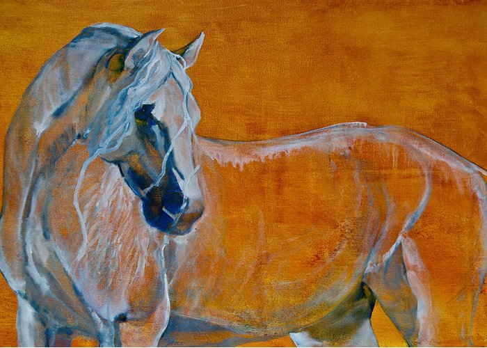Horses Greeting Card featuring the painting Del Sol by Jani Freimann