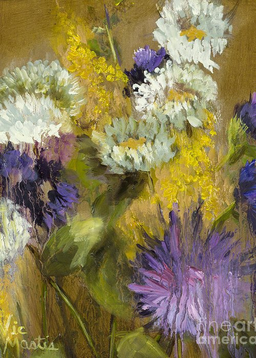 Flower Greeting Card featuring the painting Delicate Aroma I -unframed-with Gold Leaf By Vic Mastis by Vic Mastis