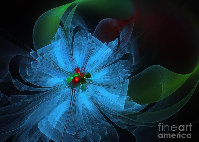 Abstract Greeting Card featuring the digital art Delicate Blue Flower-fractal Art by Karin Kuhlmann