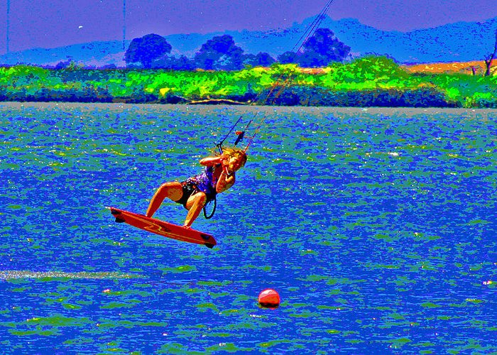 Kite Boarding Greeting Card featuring the photograph Delta Blue Wind Sailing by Joseph Coulombe