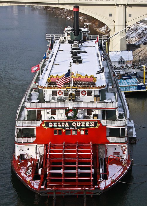 Delta Queen Greeting Card featuring the photograph Delta Queen In Christmas Snow by Tom and Pat Cory
