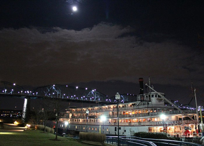 Delta Queen Steamboat Greeting Card featuring the photograph Delta Queen Under A Full Moon by Kathy White