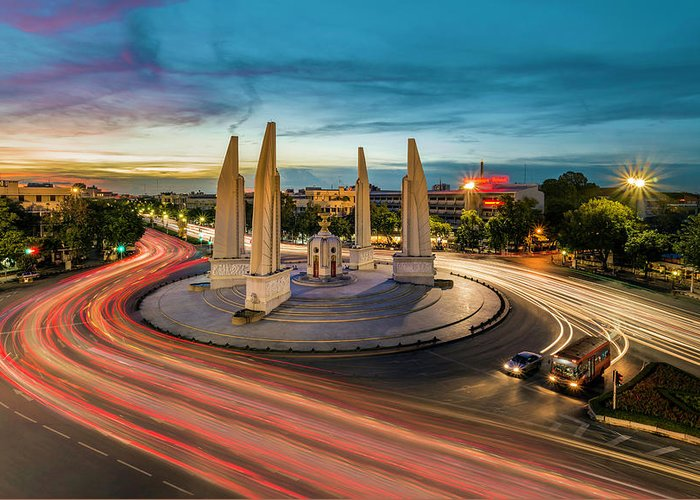 Built Structure Greeting Card featuring the photograph Democracy Monument by Pornpisanu Poomdee