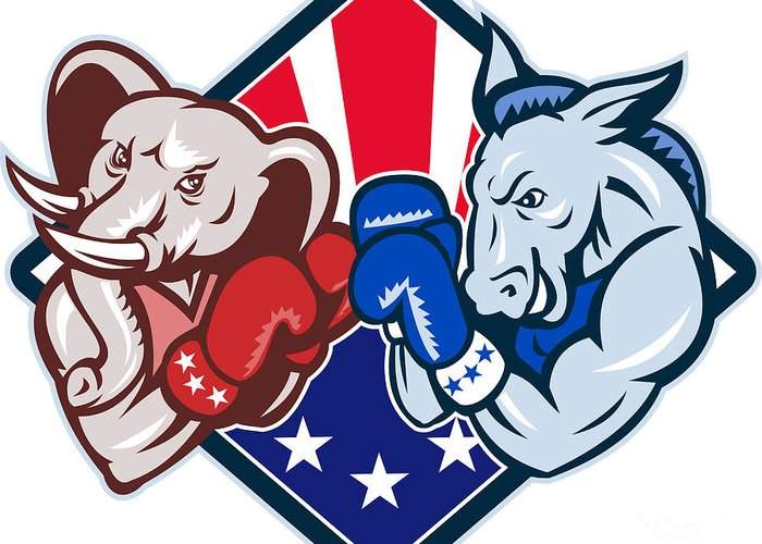 Donkey Greeting Card featuring the digital art Democrat Donkey Republican Elephant Mascot Boxing by Aloysius Patrimonio