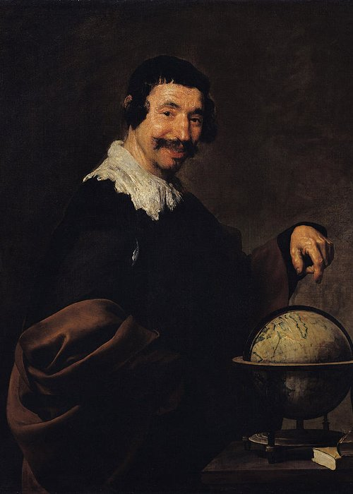 Laughing Philosopher Greeting Card featuring the photograph Democritus, Or The Man With A Globe Oil On Canvas by Diego Rodriguez de Silva y Velazquez