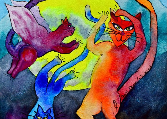 Demon Cats Greeting Card featuring the painting Demon Cats Dance By The Light Of The Moon by Beverley Harper Tinsley