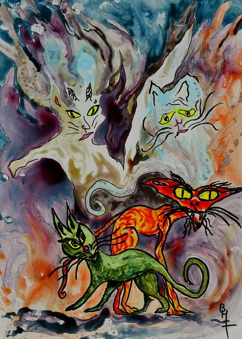 Yupo Greeting Card featuring the painting Demon Cats Haunted by Beverley Harper Tinsley