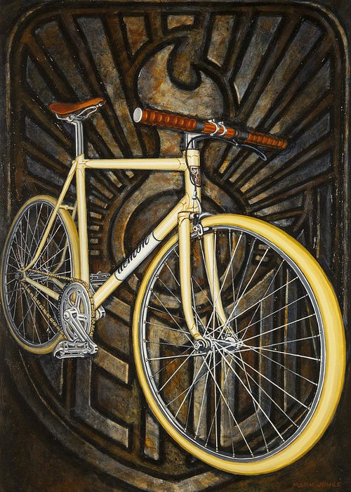 Bicycle Greeting Card featuring the painting Demon Path Racer Bicycle by Mark Howard Jones