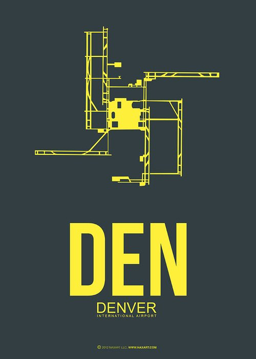 Denver Greeting Card featuring the digital art Den Denver Airport Poster 1 by Naxart Studio