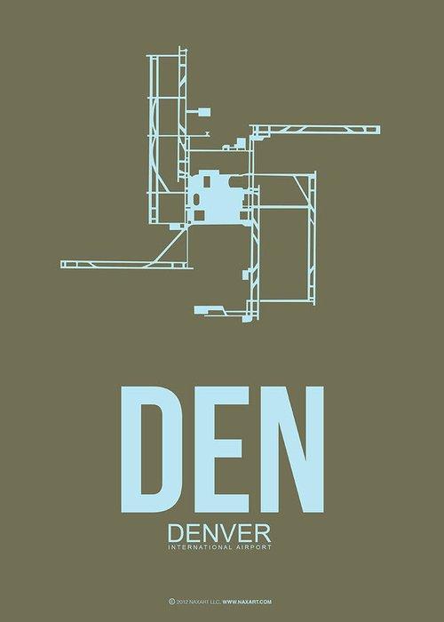 Denver Greeting Card featuring the digital art Den Denver Airport Poster 3 by Naxart Studio