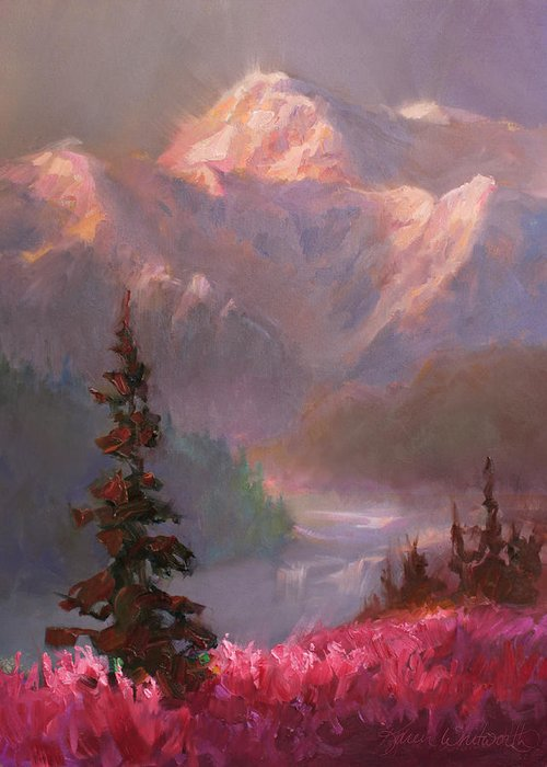 Denali Greeting Card featuring the painting Denali Summer - Alaskan Mountains In Summer by Karen Whitworth