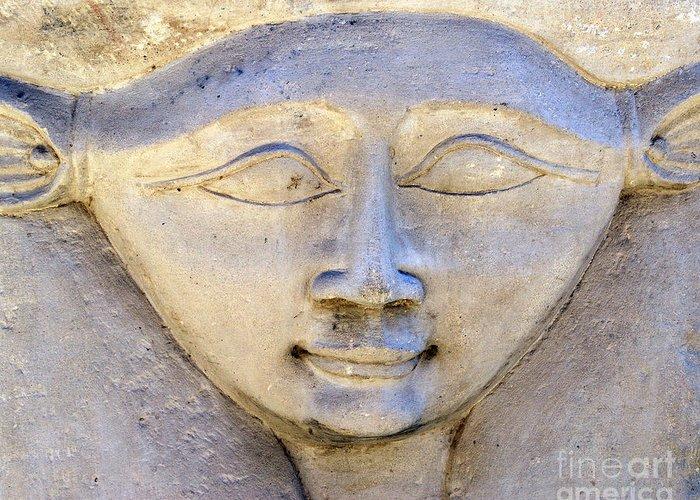 Hathor Greeting Card featuring the photograph Dendara Carving 2 - Hathor by Brian Raggatt