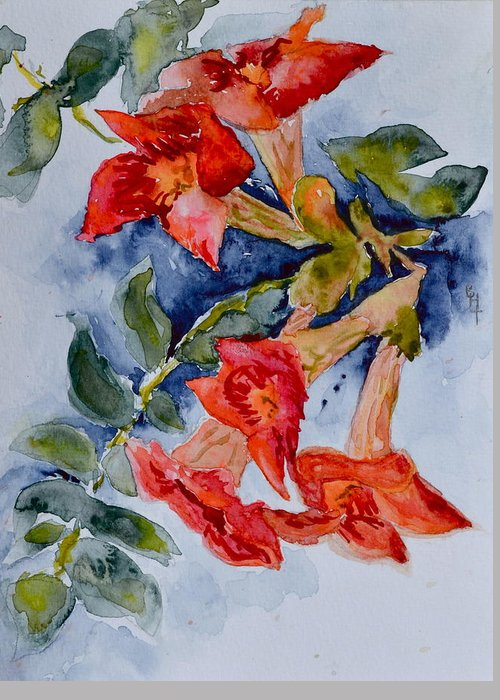 Watercolor Greeting Card featuring the painting Denim And Brass by Beverley Harper Tinsley