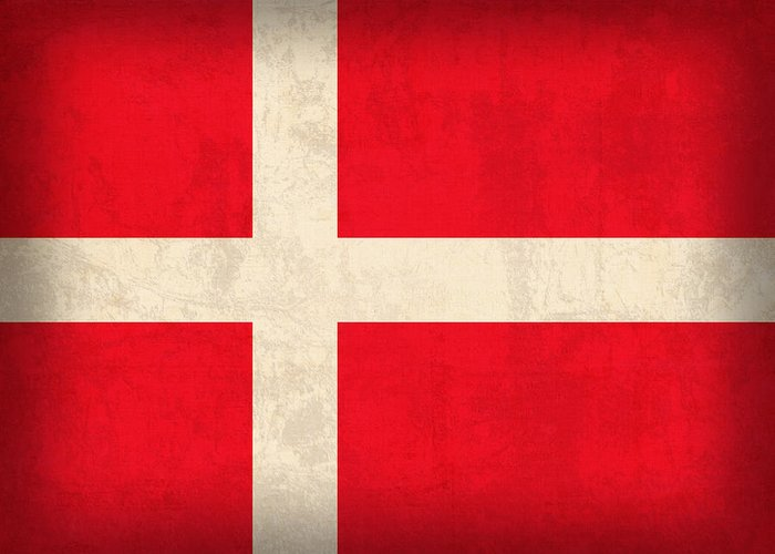 Denmark Flag Vintage Distressed Finish Danish Copenhagen Europe Naton Country Greeting Card featuring the mixed media Denmark Flag Vintage Distressed Finish by Design Turnpike