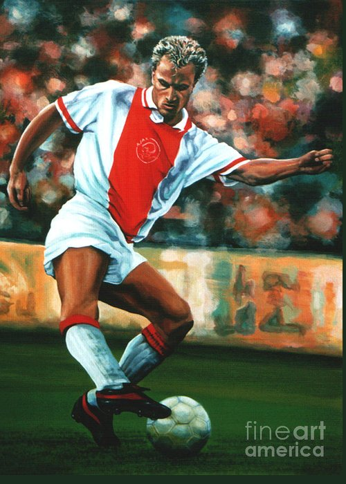 Dennis Bergkamp Greeting Card featuring the painting Dennis Bergkamp 2 by Paul Meijering