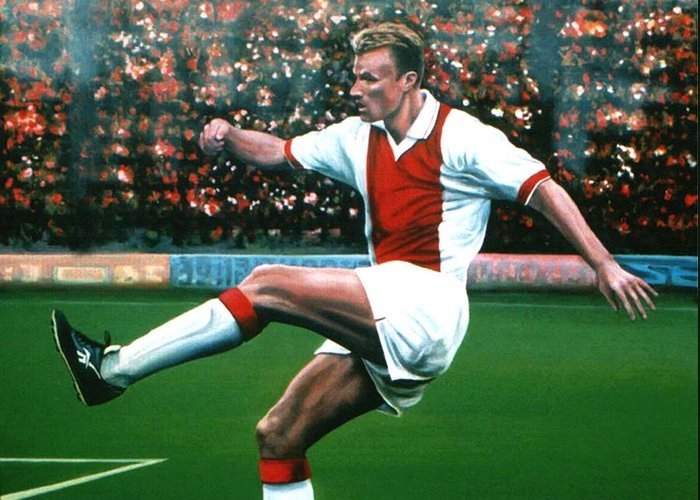 Dennis Bergkamp Greeting Card featuring the painting Dennis Bergkamp Ajax by Paul Meijering